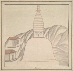 Outline sketch of a Buddhist stupa, with typically Nepalese finial with eyes, inscribed